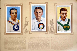 Complete Set of 50 Cricketers (1938) cigarette cards in album (1938)